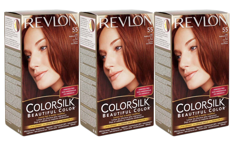 Colorsilk beautiful color 55 light reddish brown by revlon hair color - 3 Revlon Colorsilk Beautiful Permanent Color 55 Light Reddish Brown No Ammonia