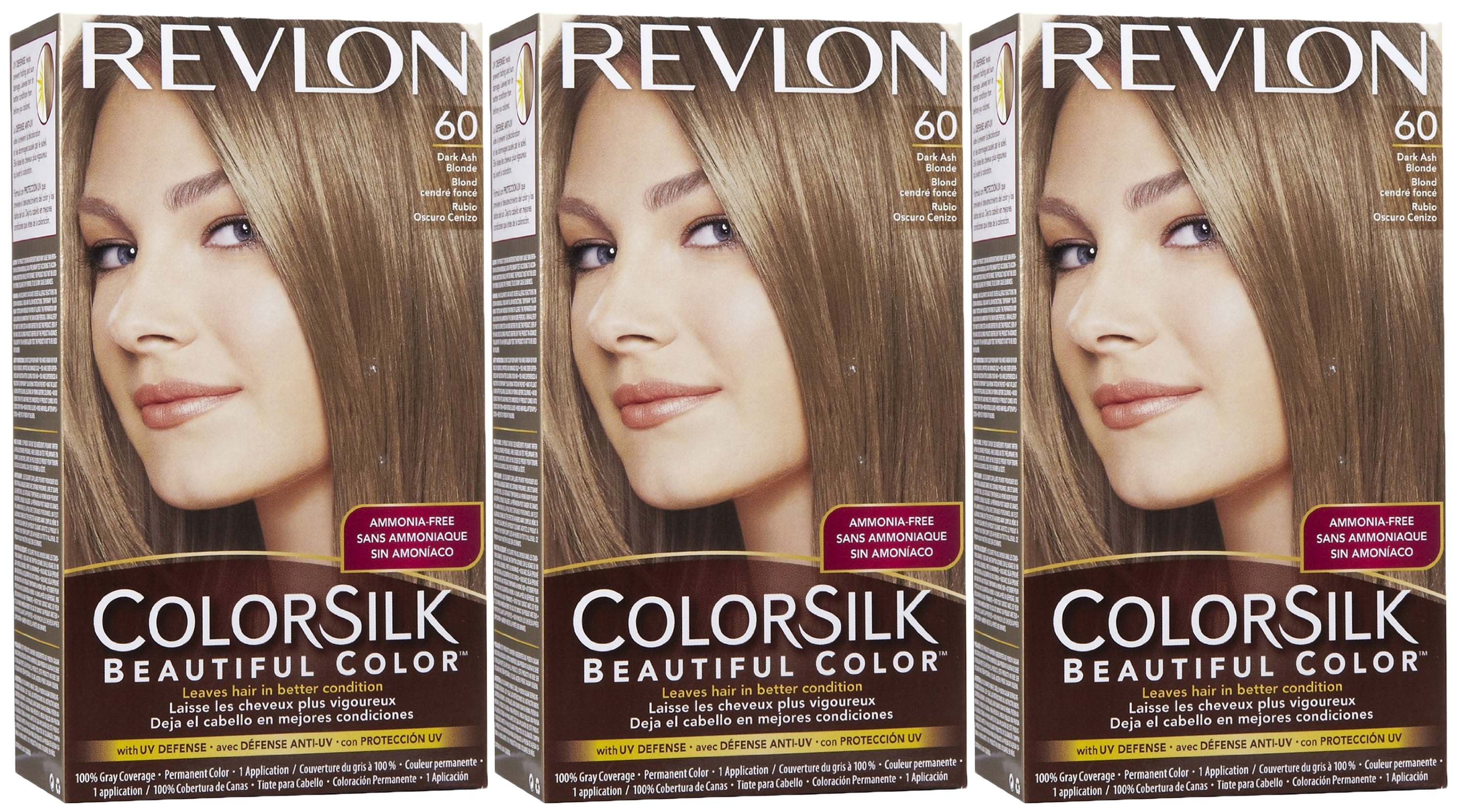 3 Revlon Colorsilk Beautiful Permanent Color 60 Dark Ash Blonde No ...